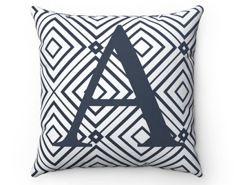 Letter or text on pillow, monogram, geometric design, personalized pillow, custom name or letter on throw pillow