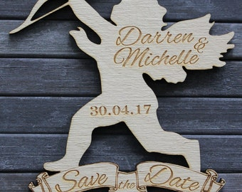 Cupid with Arrow Shaped SAVE THE DATE Magnets Personalised New