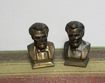 Vintage Metal Abraham Lincoln Salt & Pepper Shakers