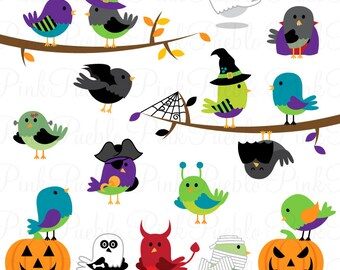 Halloween Birds Clipart Clip Art, Halloween Decoration Invitation Clip Art Clipart Vectors - Commercial and Personal Use