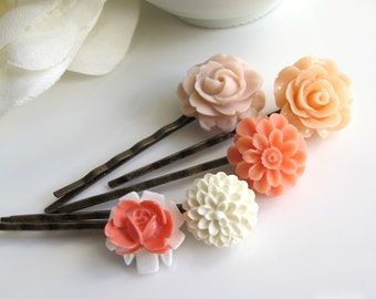 A set of 5 White, Dusty Pink, Orange, Peach Roses Flowers Floral Garden Flowers Hair Pins. Nature Spring Summer Antiqued Brass Hair Accesso