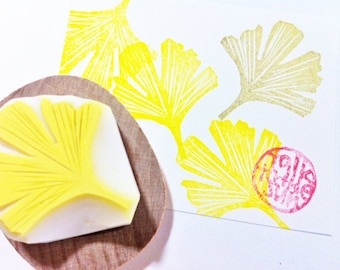 ginkgo leaf rubber stamp | woodland stamp | diy autumn holiday gift wrapping | card making | fabric stamping | hand carved by talktothesun