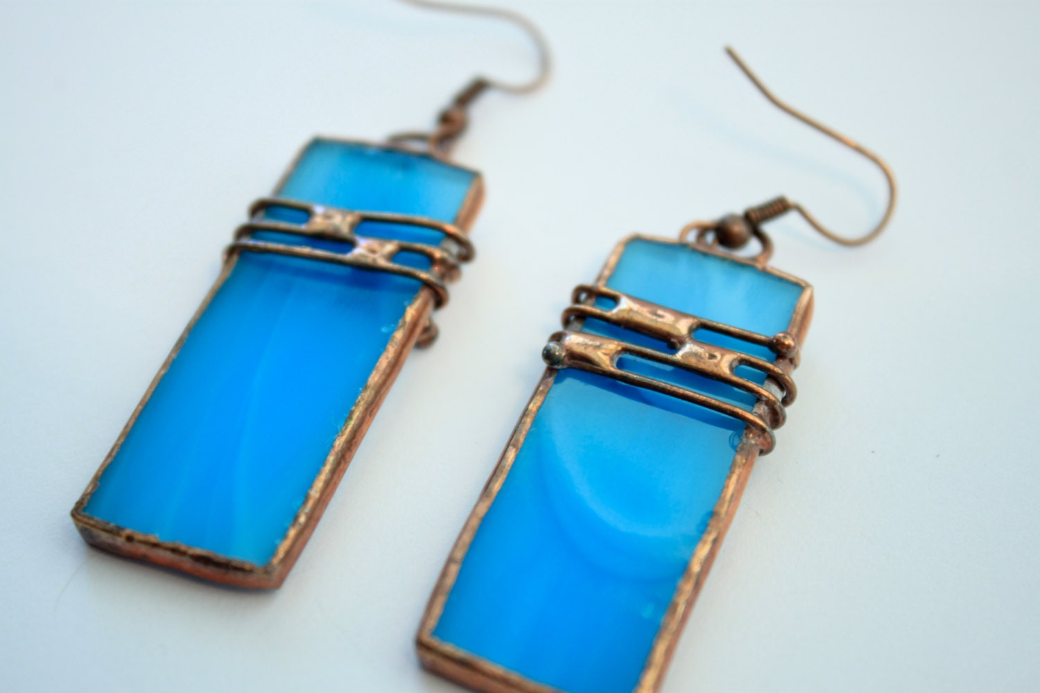 jewellery handmade bronze glass earrings firecrafted detail shop blue