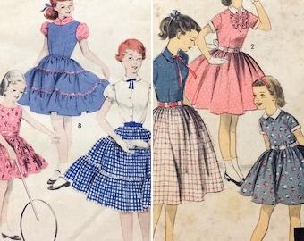 2 Vintage 1950's sz 12 Girls' Sewing Patterns Blouse Skirt Pretty-As-A-Posy Dress (0274)