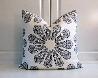 Decorative Pillow Cover using John Robshaw for Duralee Fabric-Graphite Grey-16x16,18x18,20x20,22x22,24x24