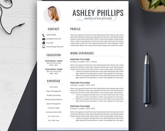 Professional Resume Template, Cover Letter, US Letter, A4, Word, CV Template, Creative and Modern Resume Design, Instant Download, ASHLEY