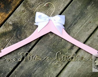 BRIDE Wire Name Hanger - Pink & Gold Wedding Dress Hanger - Pink Hanger - White bow Hanger - Custom name - Unique Design Hanger - OOAK