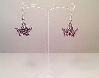 Sleeping Angel Tibetan Silver Dangle Earrings