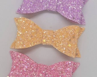 """Pastel Glitter Hair Bow-Alligator Clip-Choose color-Baby Headband-Photo Prop-Chunky Glitter-Toddler Hair Accessories-3"""" hair bow"""