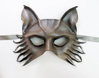 Wolf Fox Dog Leather Mask grey brown black very lightweight yet sturdy Entirely Handcrafted