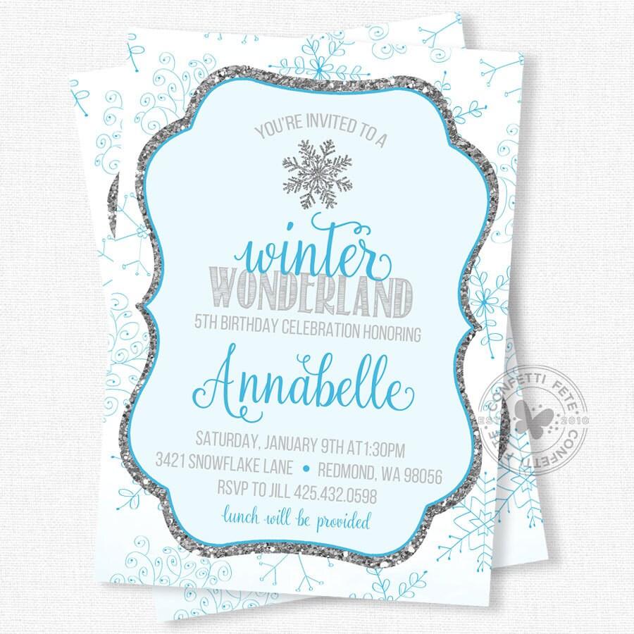 Snowflake Birthday Invitation Winter Birthday Invitation