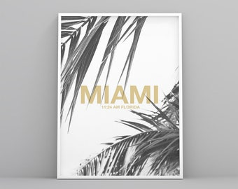 Poster Miami poster printable Palm, coconut decor, black and white, yellow, modern, minimal letter, digital file