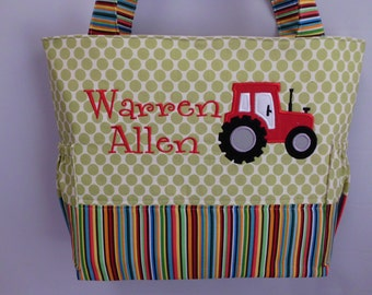 Stripes and Dots ... Appliqued TRACTOR  .... Diaper bag AMY BUTLeR ...  Personalized FREE