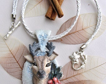 Deer christmas necklace - polymer clay pendant - christmas gift ideas - mothers day gift - polymer clay jewelry - nature style - winter