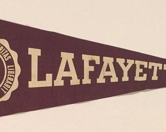 Vintage Circa 1940's Lafayette College Pennant - Antique College Memorabilia