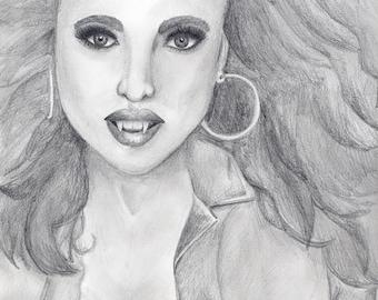 Vampiress--original pencil drawing
