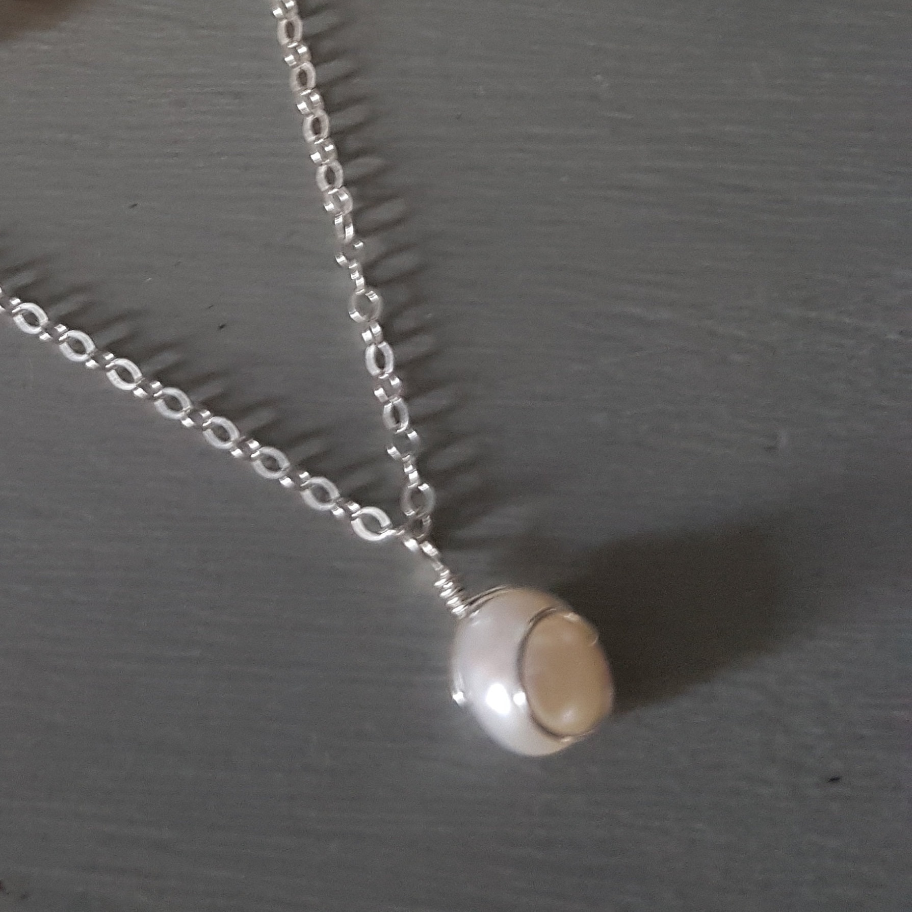Baroque Freshwater Pearl necklace Sterling Silver white pearl drop ...