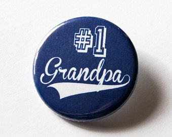 Grandpa Pin, Number 1 Grandpa, Pinback buttons, Lapel Pin, Gift for Grandpa, Father's Day, Grandparents Day, Gift for him, Blue pin (5564)