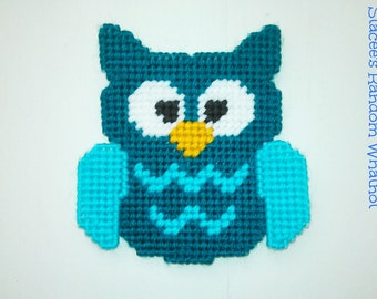 Owl Magnet - Owl Decor - Kitchen Magnet - Decorative Magnet - Refrigerator Magnet - Aquamarine - Plastic Canvas Magnet - Ready To Ship