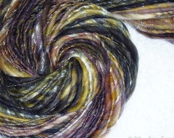Plum Crazy Handspun Yarn -78 Yards - Singles - Knitting - Weaving - Crochet - Mixed Media - Trimming - Fiber Arts
