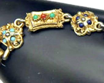 Bracelet Designer Signed ART Faux Turquoise and Coral