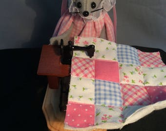 Mouse with her Treadle Sewing Machine. NEW LOWER PRICE