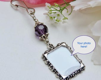 Wedding bouquet photo charm- Royal purple. Bridal bouquet charm- small picture frame. Wedding keepsake. Gift for the bride. Memorial charm