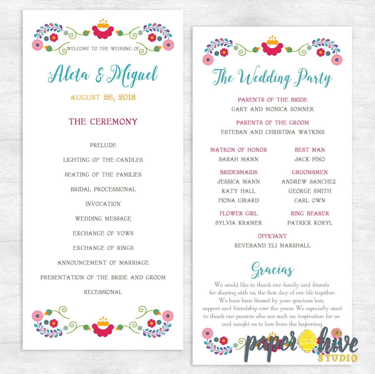 Großartig Einzigartige Hochzeitsprogramme Vorlagen Zeitgenössisch ...