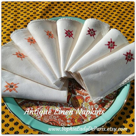 8 Antique Off White Linen Napkins French Made Geometrical Hand - Embroidered Lace Trim #sophieladydeparis