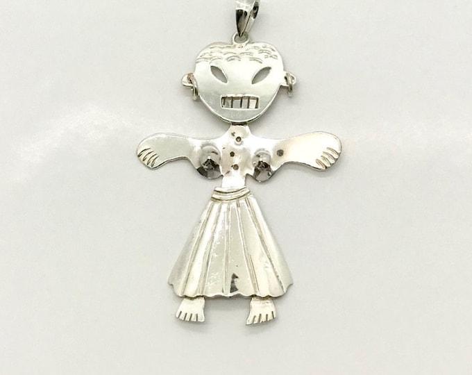 Vintage Sterling Silver Girl Pendant Stamped Mexico, Sterling Silver Girl, Jointed Sterling Silver Girl Pendant