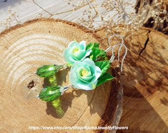 Mint Rose Earrings Jewelry mint roses polymer clay Crystal drop earrings Gift for her Floral jewelry Flower earrings Mother's Day Gift