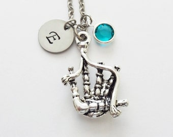 Bagpipes Necklace, Bagpiper Gift, Scotland, Scottish Music Jewelry, Swarovski Birthstone, Silver Initial Personalized Monogram, Hand Stamped