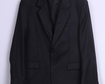 Paulo Passero Mens 176 56 XL Blazer Black Wool Blend Plein Single Breasted Jacket