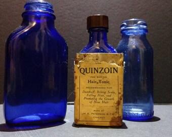 Antique Cobalt Blue Bottles - Set of 3