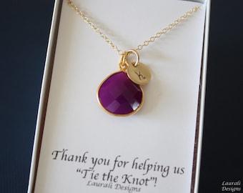 6 Initial Bridesmaid Necklace Plum, Bridesmaid Gift, Purple Gemstone, Gold, Monogram Jewelry, Personalized, Purple Gemstone Charm