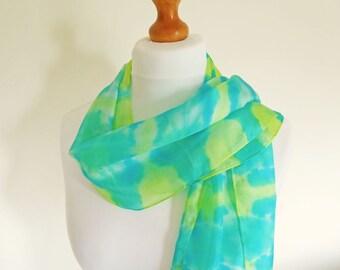 Hand-dyed Silk Scarf, Shibori Dyed Silk, Tie-Dye Long Silk Scarf, Silk Habotai Scarf, Jade Green, Yellow, Turquoise, OOAK Scarf, UK Seller