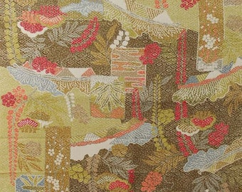 """13.5""""w. x 32.3""""l. Vintage silk kimono fabric green brown red and gray flower 2816K"""