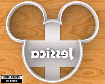 PERSONALIZED Mickey Mouse Cookie or Foundant Cutter, SELECTABLE SIZES