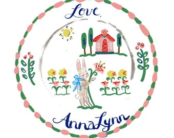 """Round Stickers, Custom Stickers , 3"""" Labels, personalized Stickers, Childrens Label Stickers, Gift Tag, Bunny, Cottage"""