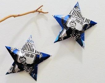 Euphoria Pale Ale Stars from Aluminum cans, Set 2 Christmas Ornament,  Blue White Black, Skeleton Celebrates