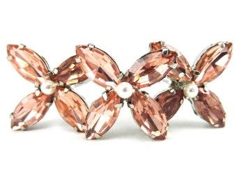 Pink Rhinestone Hydrangea Hair Pins - Pink Hydrangea Hair Accessories