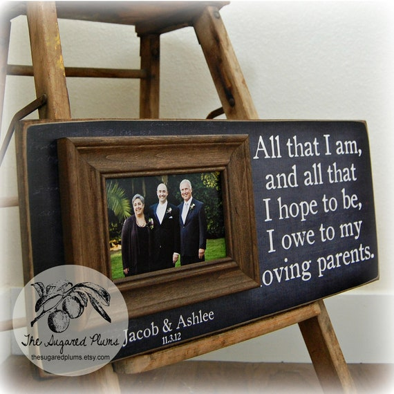 Personalized Wedding Gifts For Parents: Parents Wedding Gift Personalized Picture Frame Custom