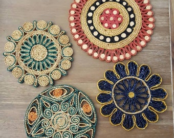 Vintage Woven Straw Colorful Trivets Set of 4