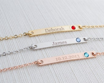 Name & Birthstone Bracelet, Silver, Gold or Rose gold plated, Date Bracelet,  Engraved bar bracelet, birthstone bracelet