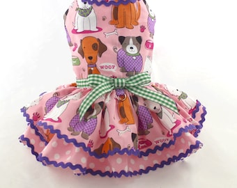 Dog Dress, Dog Harness Dress, Dog Clothes for Small Dog, Ruffle Dress for Dogs, Summer Dress, Handmade Dress, Custom Dress, Pink, Puppies