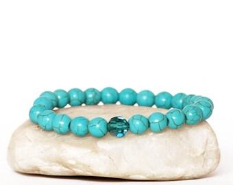 Turquoise Bracelet, Swarovski Bracelet, Energy Bracelet, Blue Bracelet, Boho Bracelet, Bohemian Bracelet, Jewelry Gift, Gift for her