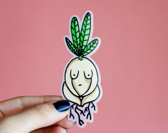 Feminist Vinyl Sticker- Illustrated Radish Girl Weatherproof Decal Cartoon Plant