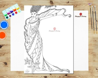 Nymph of the Sea / coloring book page / Digital stamp