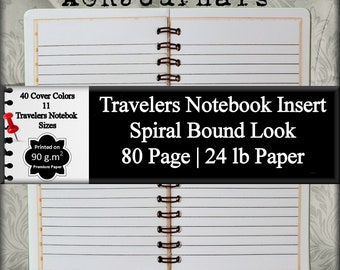 Travelers Notebook Insert Spiral Notebook Look Lined Journal Notebook Writing Journal Lined Diary Journal Daily Diary