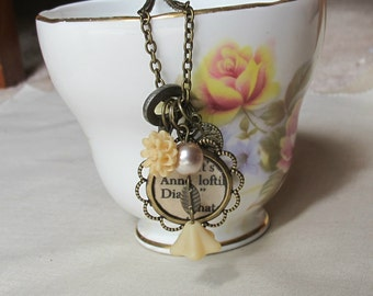Anne of Green Gables Jewelry - Charm Necklace Jewellery Beige Cream - For Women Skeleton Key Vintage - Bookworm Gift Botanical Floral Flower